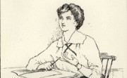 Wartime cartoon of a woman at a desk