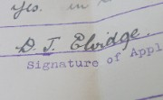 Doris Elvidge's signature on her job application to the bank, 1916