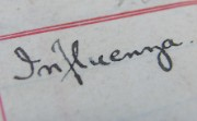 The word 'influenza' written in a 1918 staff ledger
