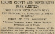 Newspaper report of a proposed bank merger, 1918