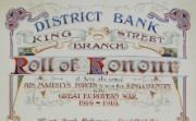 Roll of honour for District Bank's Manchester King Street staff