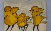 Cartoon depicting Mary Wood (seated) and two male colleagues as Easter chicks