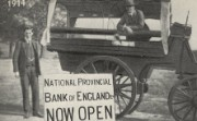 A temporary bank branch in action, 1914